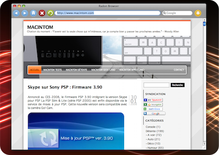 Radon : Navigateur pour Mac OS X lger, trs lger !