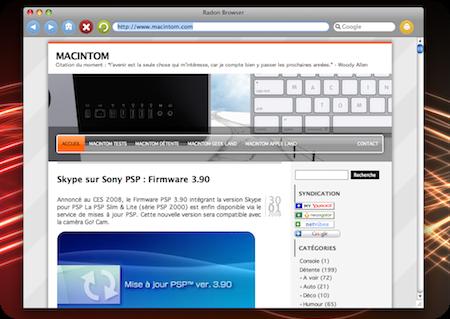 Radon : Navigateur pour Mac OS X léger, très léger !