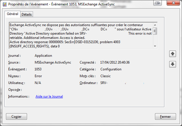 Error 1053 MSExchange ActiveSync