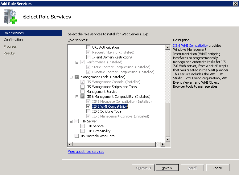 Exchange2010-IIS6WMI-RoleServices